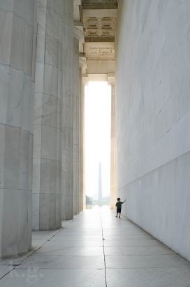 Child walking the monument