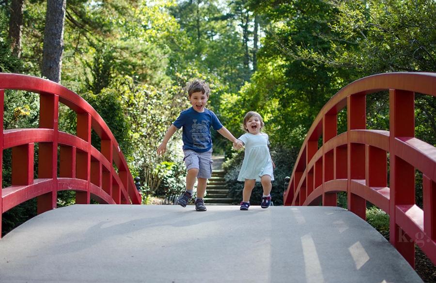 children playing on bridge