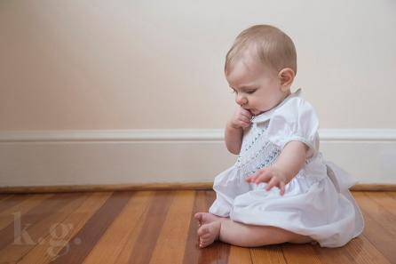 baby girl, sitting, smocking dress, six months, photography, dc