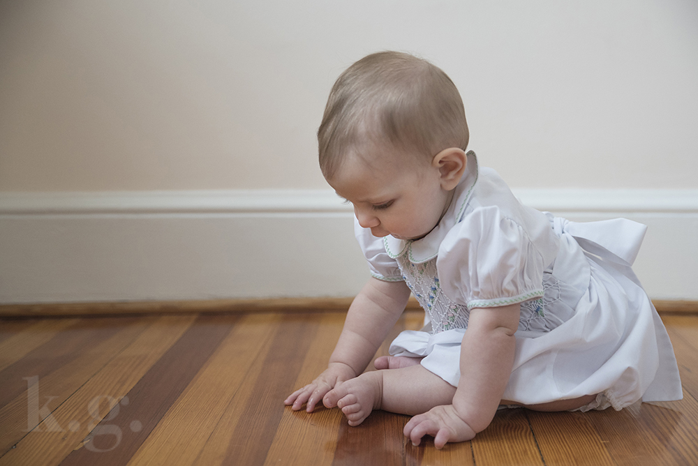 baby girl, sitting, smocking dress, six months, photography, dc