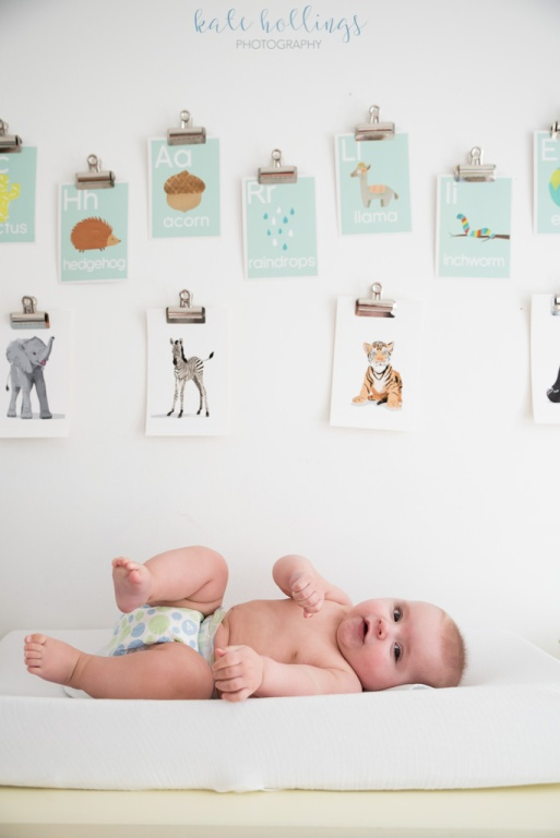 baby boy on changing table
