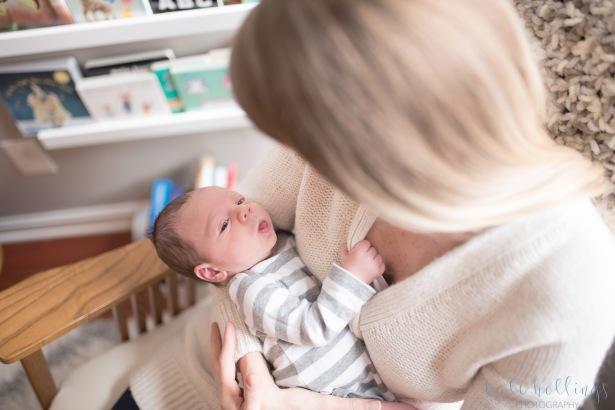 Newborn boy in mama's arms